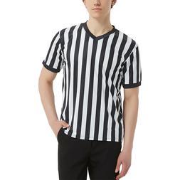 TOPTIE Mens Official V Neck Black White Stripe Referee Jerse