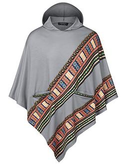COOFANDY Mens Poncho Cape Cloak Casual Hooded Irregular Hem