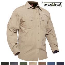 TACVASEN Mens Quick Dry Anti-UV ShirtS Military Long Sleeve