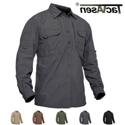 TACVASEN Mens Quick Dry Sun Protection Cargo Shirts Long Sle