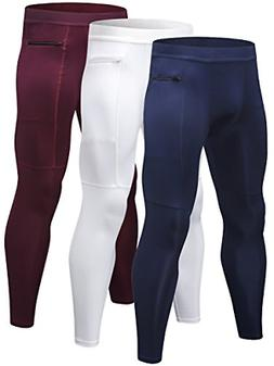 Yuerlian Mens Running Tights, Cycling Pants Leggings with Zi