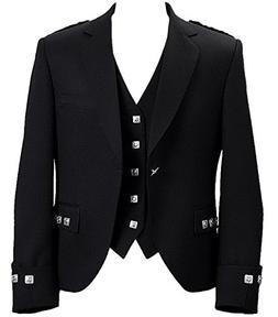 Lucasini Mens Scottish Argyle Kilt Jacket With Vest