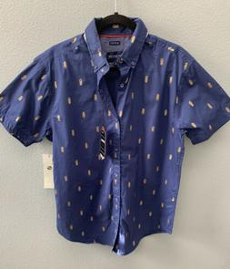 Drill Clothing Co Mens Size L Short Sleeve Navy/Gold Pineapp