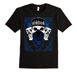 Mens CaliDesign Southside Blue Bandana T-shirt Skull Gangste
