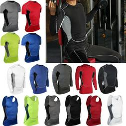 Mens Sports Compression T-Shirts Vests Tank Tops Fitness Bas