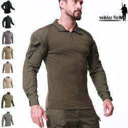 Mens Tactical T-Shirts Army Military Combat Long Sleeve Casu