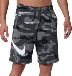 Mens Nike Terry Cloth Camo Shorts Grey Gray Black White Camo