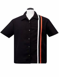 STEADY CLOTHING Mens V-TWIN RACER Shirt BLACK ORANGE Lounge