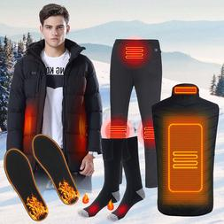 Mens Winter Electric Heated Vest Jacket Coat Trousers Socks
