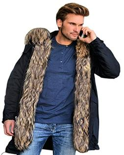 Roiii Mens Winter Warm Thick Faux Fur Waterproof Outdoor Hoo