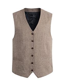 Lucasini Mens Wool Blend Tweed Herringbone Waistcoat Vest