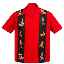 STEADY CLOTHING Multi Pin-Up Panel Button Up Bowling Shirt R