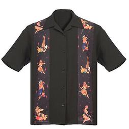 STEADY CLOTHING Multi Pin-Up Panel Button Up Bowling Shirt B