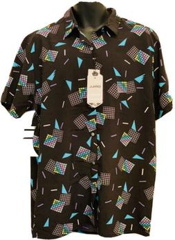 NEW Drill Clothing Company 90s Theme Shapes Button Up Size L
