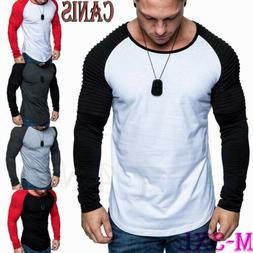 New Fashion Men Long Sleeve T Shirt Casual Blouse Tops Gym M