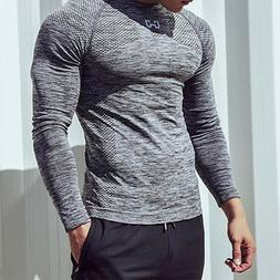 New Men's Slim Fit Long Sleeve T-shirt Fitness Workout Gym C