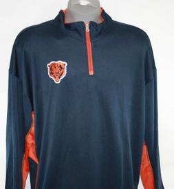 NEW Mens NFL Team Apparel Chicago Bears Navy Orange 1/4 Zip
