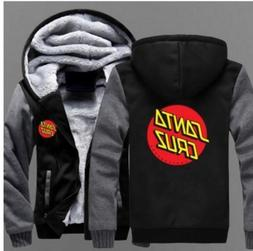 New Novelty Mens hoodie thicken fleece Santa Cruz coat Zippe