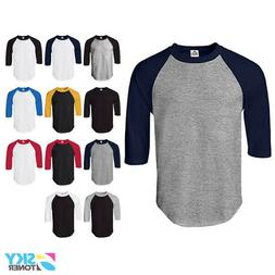 New Raglan 3/4 Sleeve Baseball Mens Plain Tee Jersey Team Sp
