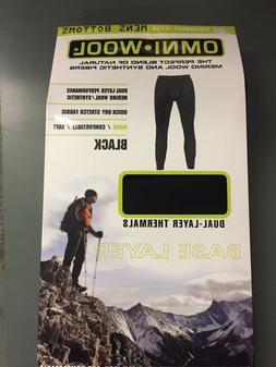 NIB Mens OMNI * WOOL Black Bottoms Base Layer Thermal Pants