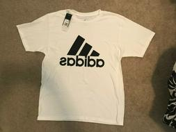 NWT Adidas Mens Badge of Sport Graphic Tee White/Black - Lar