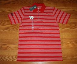 NWT Mens Knights Apparel Wisconsin Red White Striped Short S
