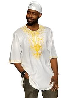 Off-White African Dashiki Shirt with Golden Orange Embroider