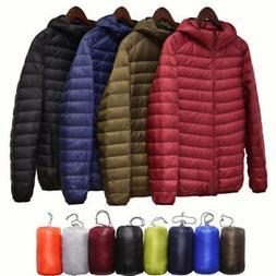 Packable Men's Lightweight Hooded Duck Winter Coat Down Jack