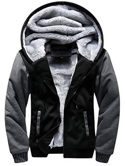 TOLOER Men's Pullover Winter Fleece Hoodie Jackets Full Zip