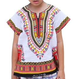 RaanPahMuang Unisex Bright African White Children Dashiki Co