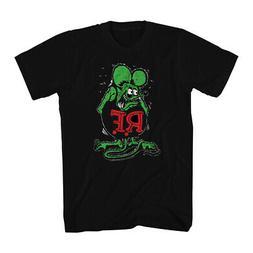 Rat Fink Ratfink Distressed Men's Black T-shirt NEW Sizes S-