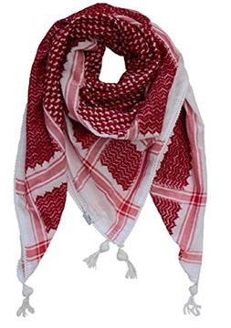 Red White Arab Shemagh Head Scarf Neck Wrap Cottton Palestin