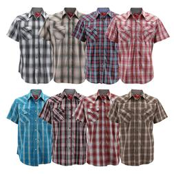 Rodeo Clothing Men's Western Pearl Snap Button Up Short Slee