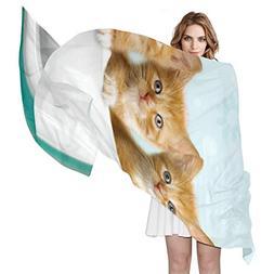 Scarf Funny Cup Cat Womens Shawl Wrap Thin Chiffon Scarves N