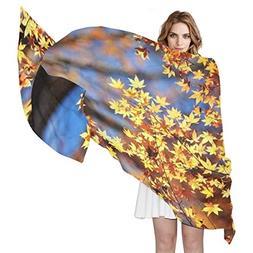 Scarf Leaves Fall Tree Ladies Thin Shawl Wrap Girls Chiffon