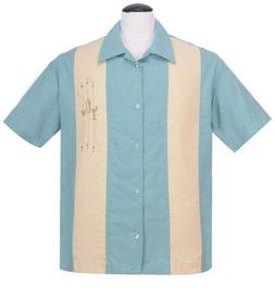 Steady Clothing Shake Down Blue Lounge Bowling Shirt Stone M