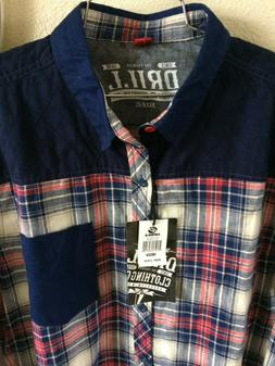Drill Clothing Co Shirt Extra Large NWT Button Down Navy Red