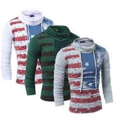 Shirts For Men national flag Printing long sleeve Shirt Men'