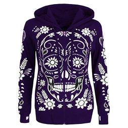 Shusuen ◈ Women Plus Size Long Sleeve Sweatshirt Skull Pri
