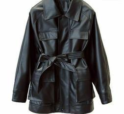 Slim Coats Women Leather Jackets Vintage Motor Biker Tie Bel