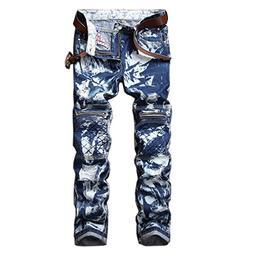 Just No Logo Men's Slim Fit Camo Paint Zip Jeans
