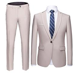 YIMANIE Men's Suit Slim Fit 2 Piece One Button Blazer Single