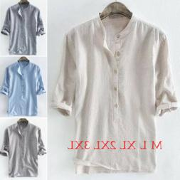 Summer Men's Clothes Striped 3/4 Sleeve Shirt Loose Casual T