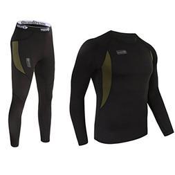 UNIQUEBELLA Men's Thermal Underwear Sets Top & Long Johns Fl