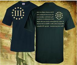 THREE PERCENTER PATRIOT APPAREL USA T-SHIRT MOLON LABE 2ND A