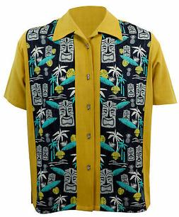 STEADY CLOTHING Tiki In Paradise Panel Button Up Bowling Shi
