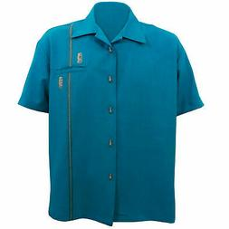 STEADY CLOTHING Tiki Retro Stitch Teal Button Up Bowling Shi