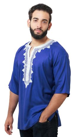 Moroccan Men Tunic Caftan Breathable Fiber Cotton Hand Tread