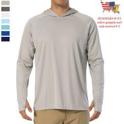 UPF 50+ Mens Sun Skin Protection T-Shirt Hoodie Long Sleeve