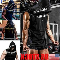 US Gym Men Sleeveless Vest Bodybuilding Hooded Tank Top Musc